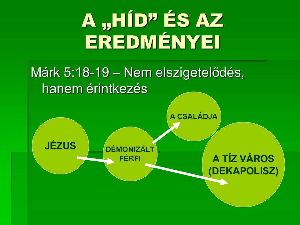 """A """"HÍD ÉS AZ EREDMÉNYEI Márk 5:18-19 – Nem elszigetelődés, hanem érintkezés DÉMONIZÁLT FÉRFI A CSALÁDJA A TÍZ VÁROS (DEKAPOLISZ) JÉZUS"""