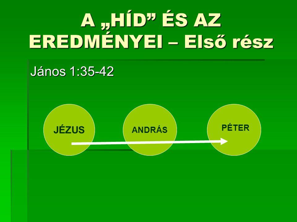 """A """"HÍD ÉS AZ EREDMÉNYEI – Első rész János 1:35-42 JÉZUS ANDRÁS PÉTER"""