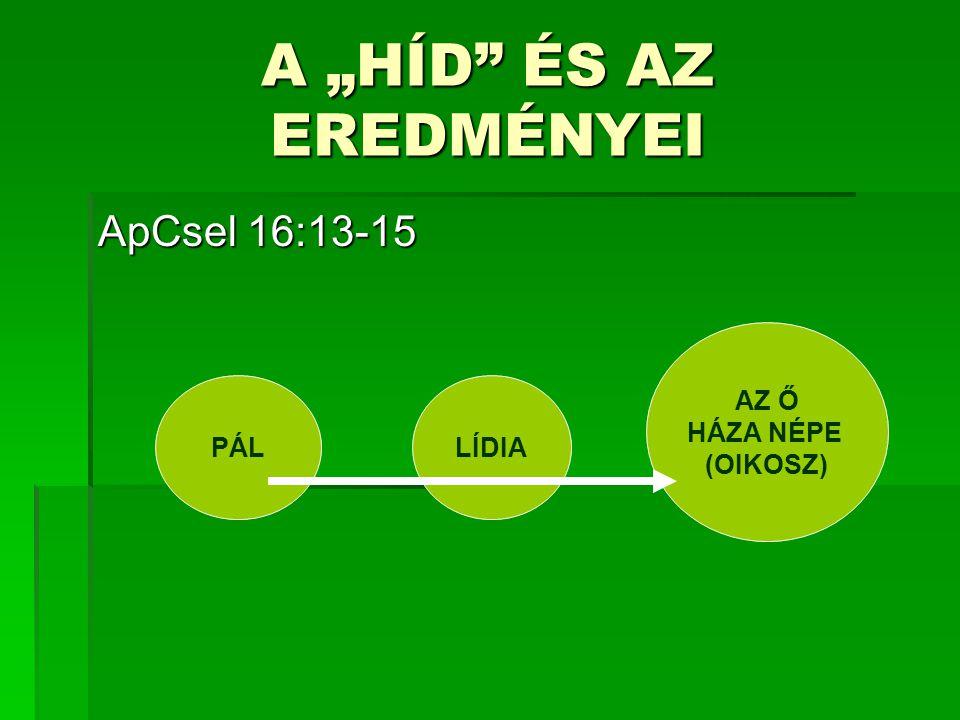 """ApCsel 16:13-15 PÁLLÍDIA AZ Ő HÁZA NÉPE (OIKOSZ) A """"HÍD ÉS AZ EREDMÉNYEI"""
