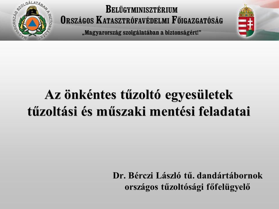 Az önkéntes tűzoltó egyesületek tűzoltási és műszaki mentési feladatai Dr. Bérczi László tű. dandártábornok országos tűzoltósági főfelügyelő