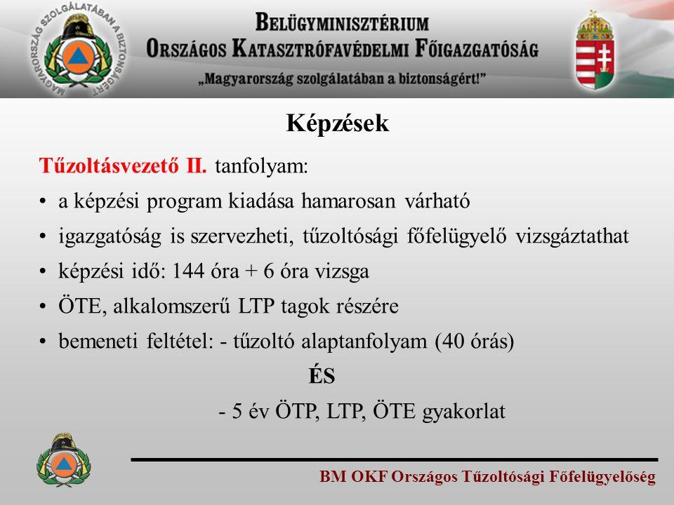 BM OKF Országos Tűzoltósági Főfelügyelőség Tűzoltásvezető II. tanfolyam: a képzési program kiadása hamarosan várható igazgatóság is szervezheti, tűzol