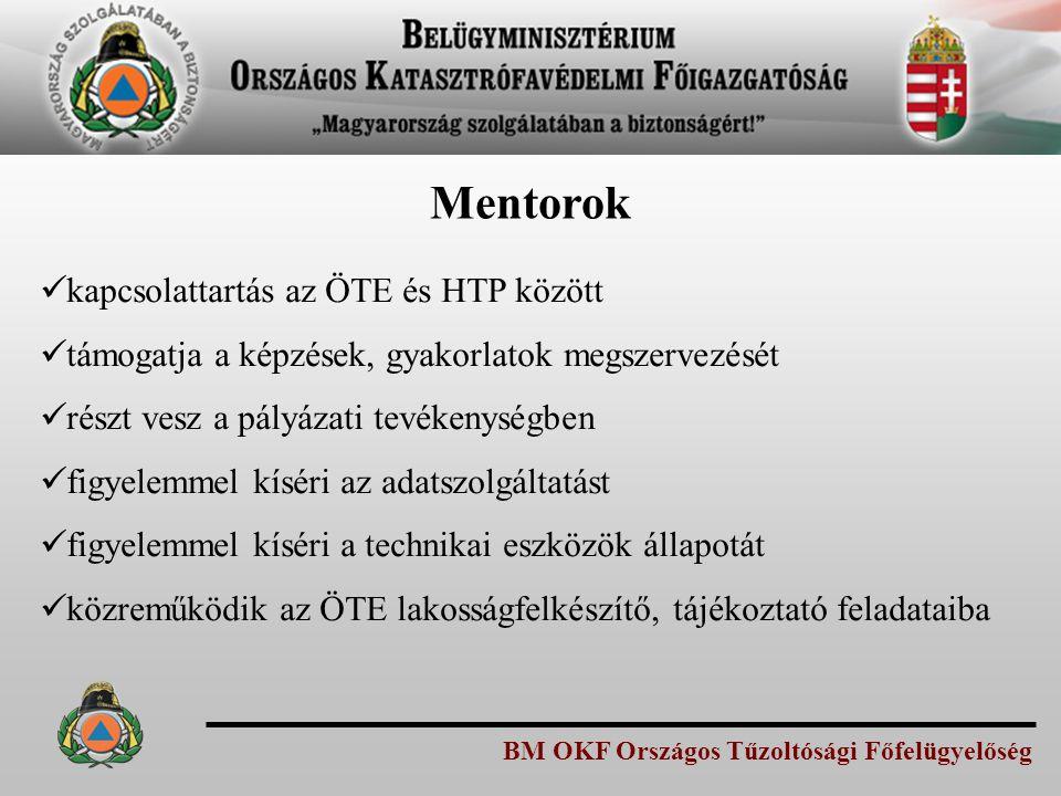 BM OKF Országos Tűzoltósági Főfelügyelőség Mentorok kapcsolattartás az ÖTE és HTP között támogatja a képzések, gyakorlatok megszervezését részt vesz a