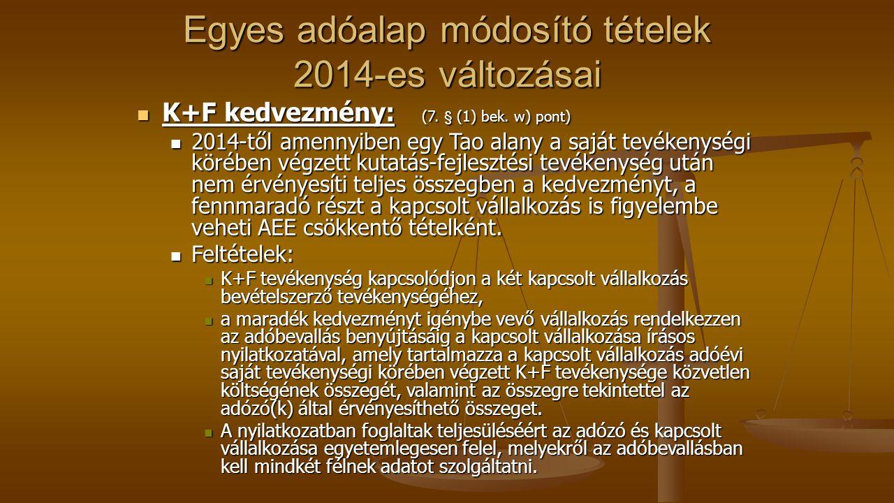 Egyes adóalap módosító tételek 2014-es változásai K+F kedvezmény: (7.