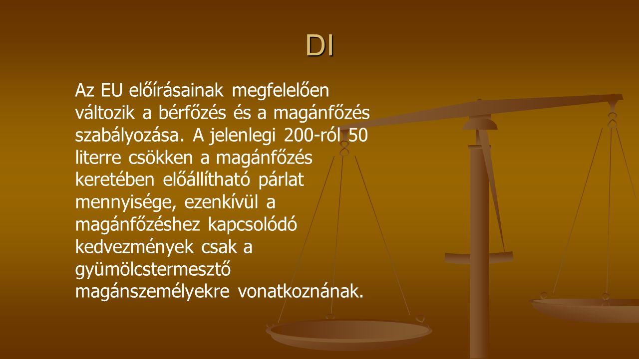 DI Az EU előírásainak megfelelően változik a bérfőzés és a magánfőzés szabályozása.