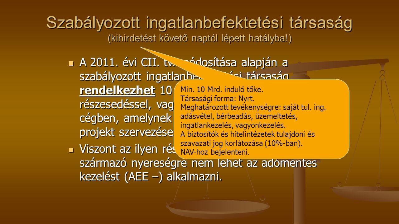 Szabályozott ingatlanbefektetési társaság (kihirdetést követő naptól lépett hatályba!) A 2011. évi CII. tv. módosítása alapján a szabályozott ingatlan