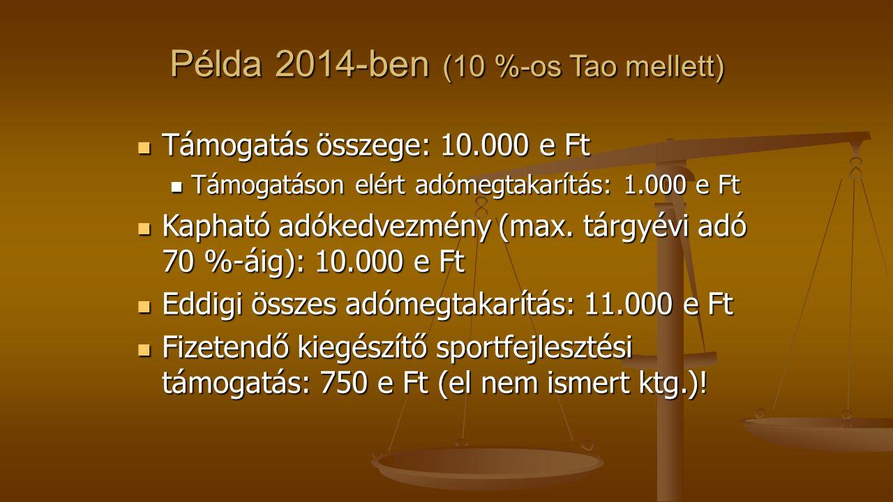 Példa 2014-ben (10 %-os Tao mellett) Támogatás összege: 10.000 e Ft Támogatás összege: 10.000 e Ft Támogatáson elért adómegtakarítás: 1.000 e Ft Támogatáson elért adómegtakarítás: 1.000 e Ft Kapható adókedvezmény (max.