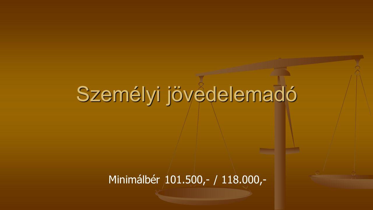 Személyi jövedelemadó Minimálbér 101.500,- / 118.000,-