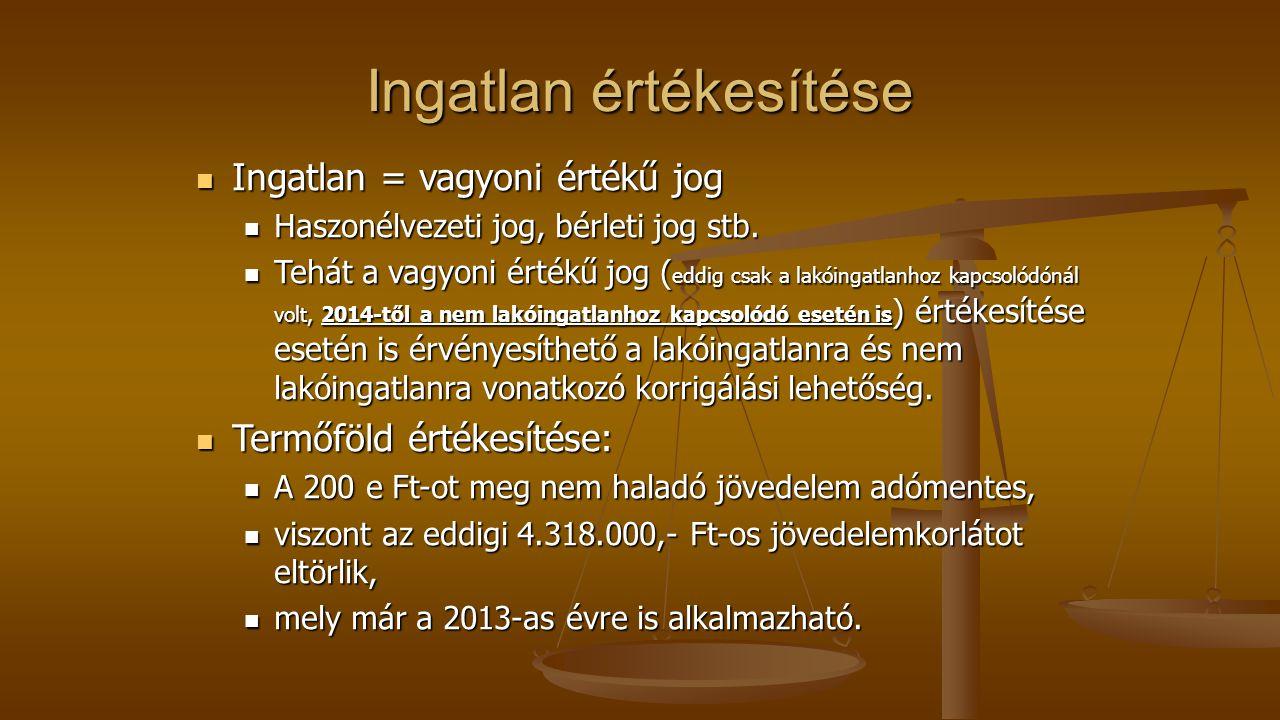 Ingatlan értékesítése Ingatlan = vagyoni értékű jog Ingatlan = vagyoni értékű jog Haszonélvezeti jog, bérleti jog stb. Haszonélvezeti jog, bérleti jog