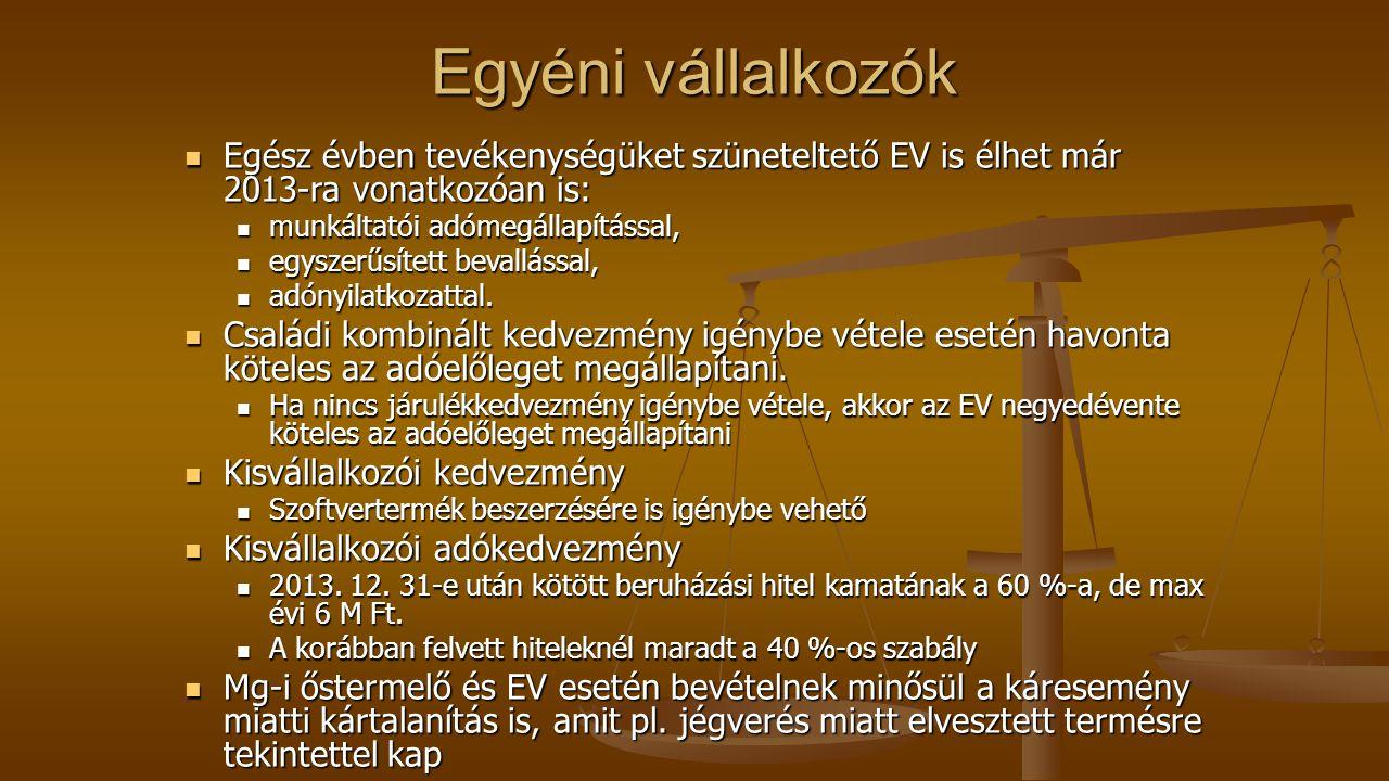 Egyéni vállalkozók Egész évben tevékenységüket szüneteltető EV is élhet már 2013-ra vonatkozóan is: Egész évben tevékenységüket szüneteltető EV is élhet már 2013-ra vonatkozóan is: munkáltatói adómegállapítással, munkáltatói adómegállapítással, egyszerűsített bevallással, egyszerűsített bevallással, adónyilatkozattal.