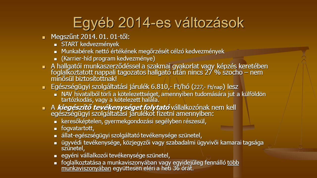 Egyéb 2014-es változások Megszűnt 2014.01. 01-től: Megszűnt 2014.