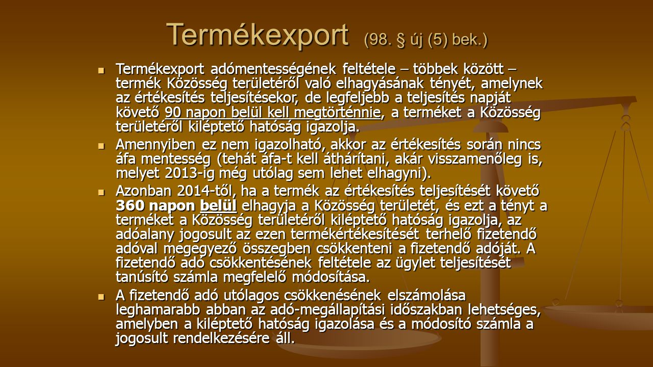Termékexport (98.