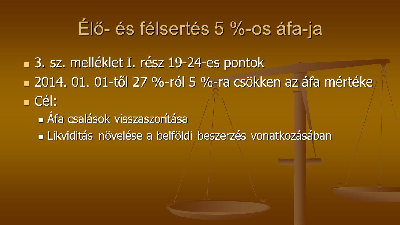 Élő- és félsertés 5 %-os áfa-ja 3. sz. melléklet I. rész 19-24-es pontok 3. sz. melléklet I. rész 19-24-es pontok 2014. 01. 01-től 27 %-ról 5 %-ra csö