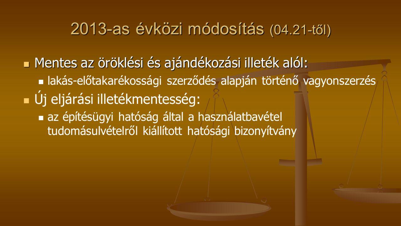 2013-as évközi módosítás (04.21-től) Mentes az öröklési és ajándékozási illeték alól: Mentes az öröklési és ajándékozási illeték alól: lakás-előtakaré