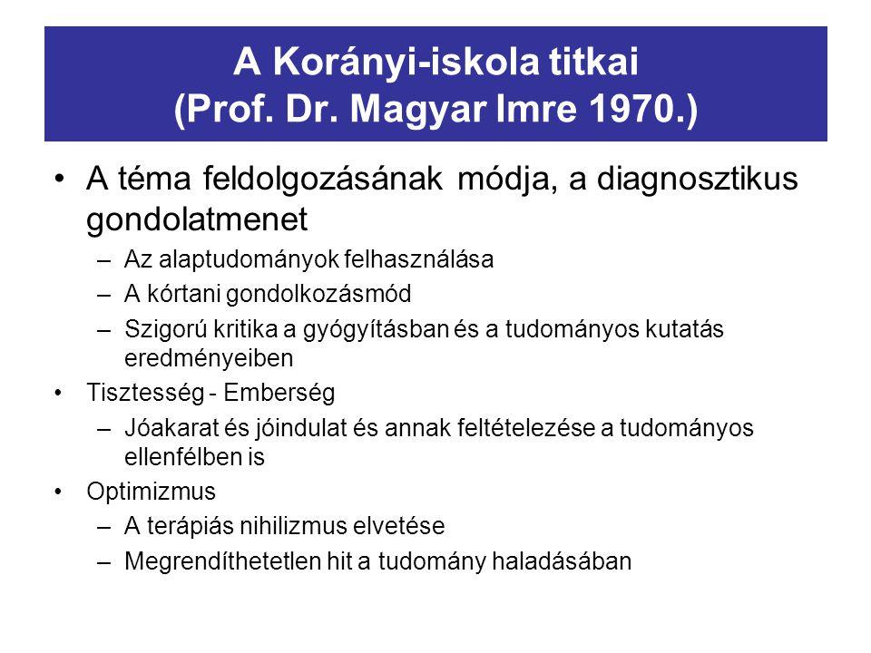 A Korányi-iskola titkai (Prof. Dr. Magyar Imre 1970.) A téma feldolgozásának módja, a diagnosztikus gondolatmenet –Az alaptudományok felhasználása –A