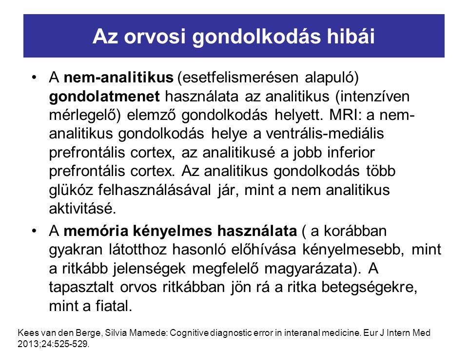 Az orvosi gondolkodás hibái A nem-analitikus (esetfelismerésen alapuló) gondolatmenet használata az analitikus (intenzíven mérlegelő) elemző gondolkod