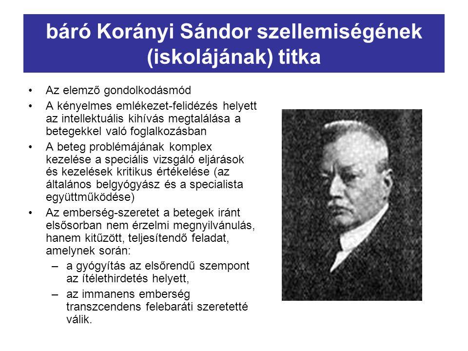 báró Korányi Sándor szellemiségének (iskolájának) titka Az elemző gondolkodásmód A kényelmes emlékezet-felidézés helyett az intellektuális kihívás meg