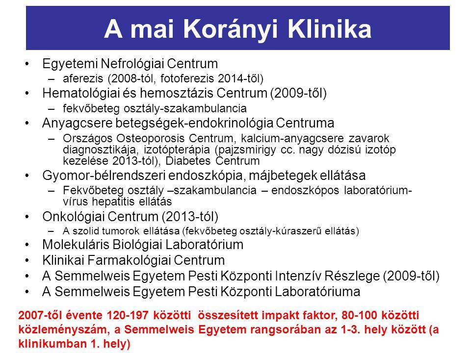 A mai Korányi Klinika Egyetemi Nefrológiai Centrum –aferezis (2008-tól, fotoferezis 2014-től) Hematológiai és hemosztázis Centrum (2009-től) –fekvőbet