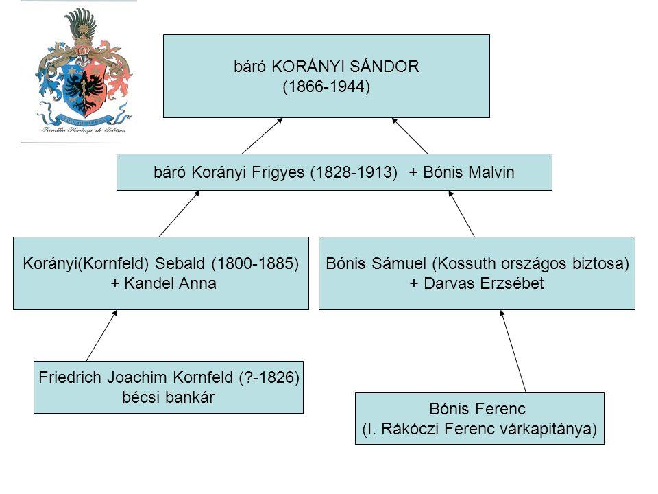 báró Korányi Frigyes (1828-1913) + Bónis Malvin Korányi(Kornfeld) Sebald (1800-1885) + Kandel Anna Bónis Sámuel (Kossuth országos biztosa) + Darvas Er