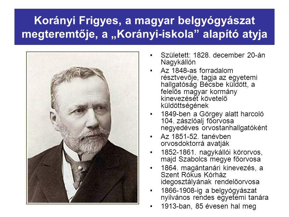 """Korányi Frigyes, a magyar belgyógyászat megteremtője, a """"Korányi-iskola"""" alapító atyja Született: 1828. december 20-án Nagykállón Az 1848-as forradalo"""