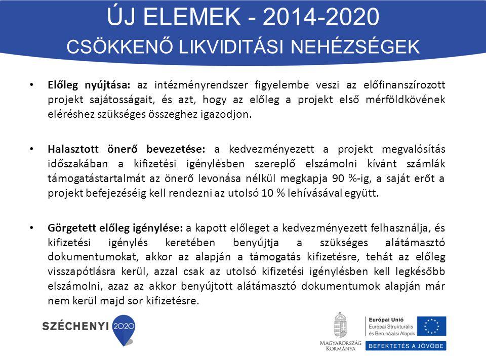 ÚJ ELEMEK - 2014-2020 CSÖKKENŐ LIKVIDITÁSI NEHÉZSÉGEK Előleg nyújtása: az intézményrendszer figyelembe veszi az előfinanszírozott projekt sajátosságait, és azt, hogy az előleg a projekt első mérföldkövének eléréshez szükséges összeghez igazodjon.