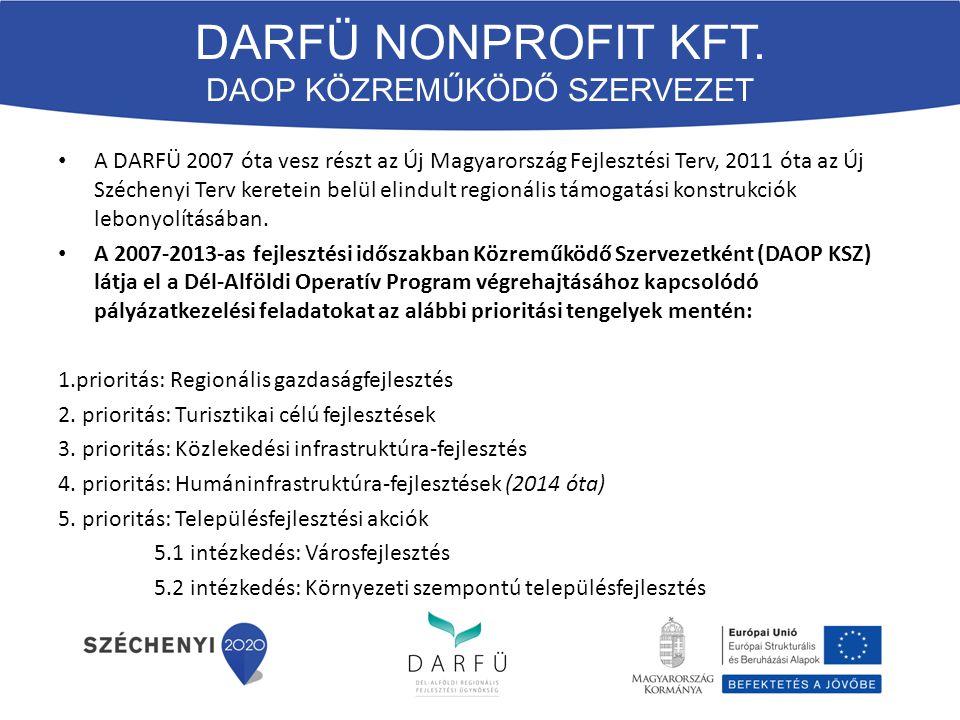 A DARFÜ 2007 óta vesz részt az Új Magyarország Fejlesztési Terv, 2011 óta az Új Széchenyi Terv keretein belül elindult regionális támogatási konstrukciók lebonyolításában.