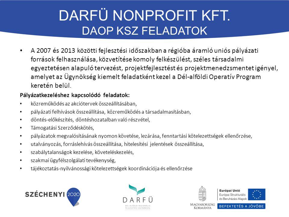 A 2007 és 2013 közötti fejlesztési időszakban a régióba áramló uniós pályázati források felhasználása, közvetítése komoly felkészülést, széles társadalmi egyeztetésen alapuló tervezést, projektfejlesztést és projektmenedzsmentet igényel, amelyet az Ügynökség kiemelt feladatként kezel a Dél-alföldi Operatív Program keretén belül.