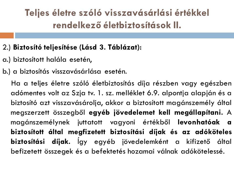 Teljes életre szóló visszavásárlási értékkel rendelkező életbiztosítások II. 2.) Biztosító teljesítése (Lásd 3. Táblázat): a.) biztosított halála eset