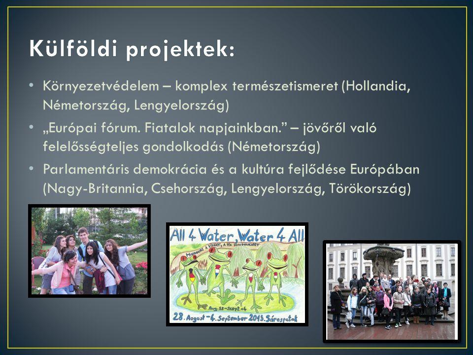 """Környezetvédelem – komplex természetismeret (Hollandia, Németország, Lengyelország) """"Európai fórum. Fiatalok napjainkban."""" – jövőről való felelősségte"""