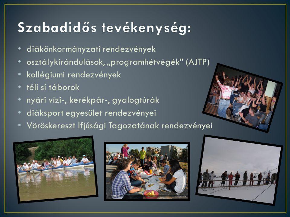 """diákönkormányzati rendezvények osztálykirándulások, """"programhétvégék (AJTP) kollégiumi rendezvények téli sí táborok nyári vízi-, kerékpár-, gyalogtúrák diáksport egyesület rendezvényei Vöröskereszt Ifjúsági Tagozatának rendezvényei"""