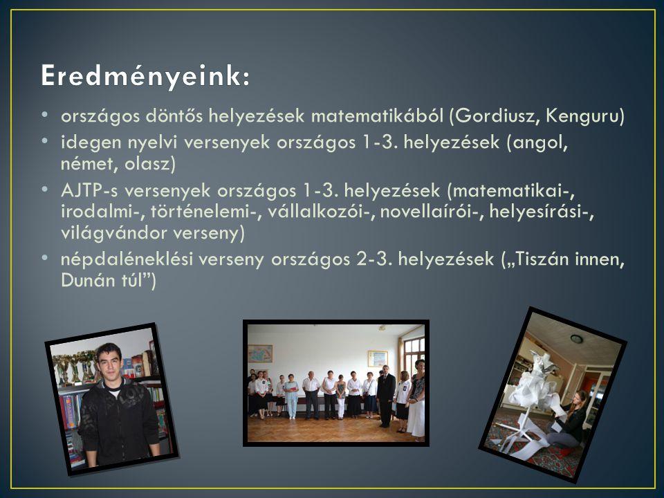 országos döntős helyezések matematikából (Gordiusz, Kenguru) idegen nyelvi versenyek országos 1-3. helyezések (angol, német, olasz) AJTP-s versenyek o