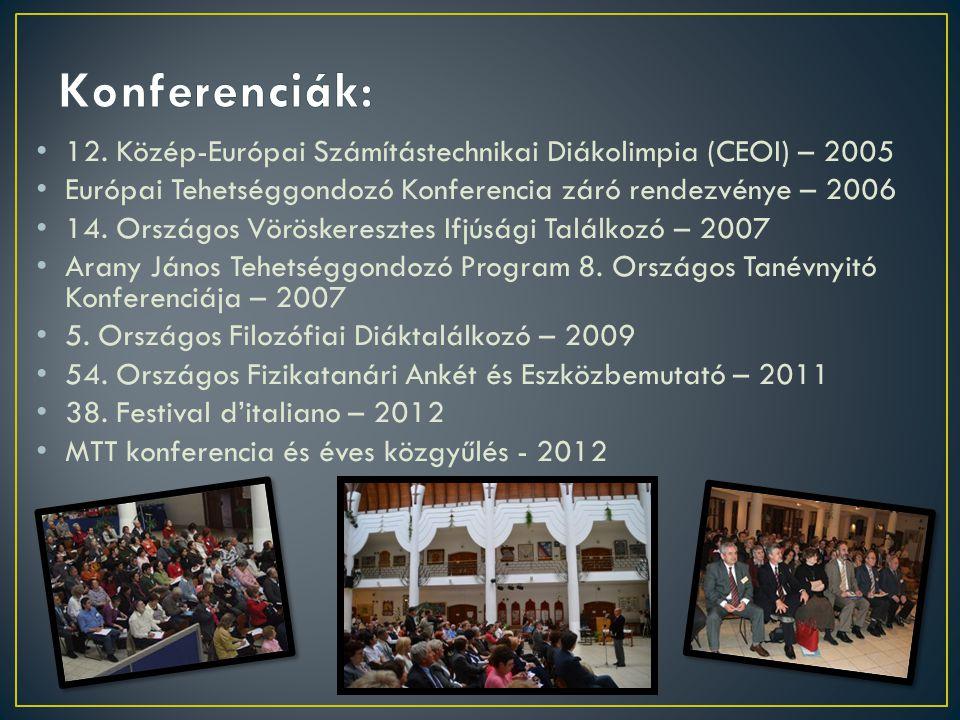 12. Közép-Európai Számítástechnikai Diákolimpia (CEOI) – 2005 Európai Tehetséggondozó Konferencia záró rendezvénye – 2006 14. Országos Vöröskeresztes