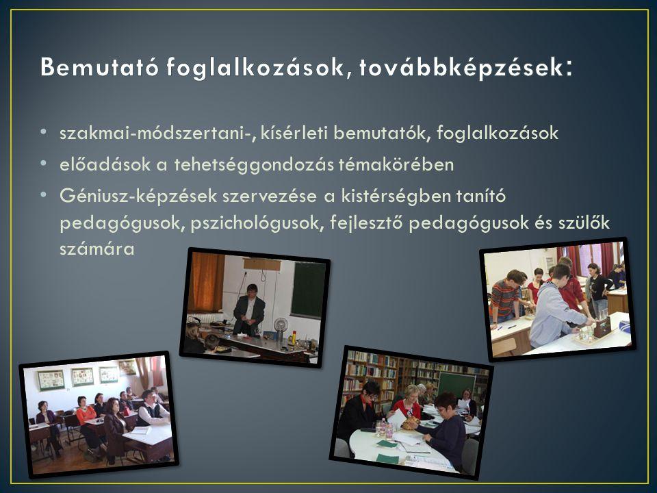 szakmai-módszertani-, kísérleti bemutatók, foglalkozások előadások a tehetséggondozás témakörében Géniusz-képzések szervezése a kistérségben tanító pedagógusok, pszichológusok, fejlesztő pedagógusok és szülők számára