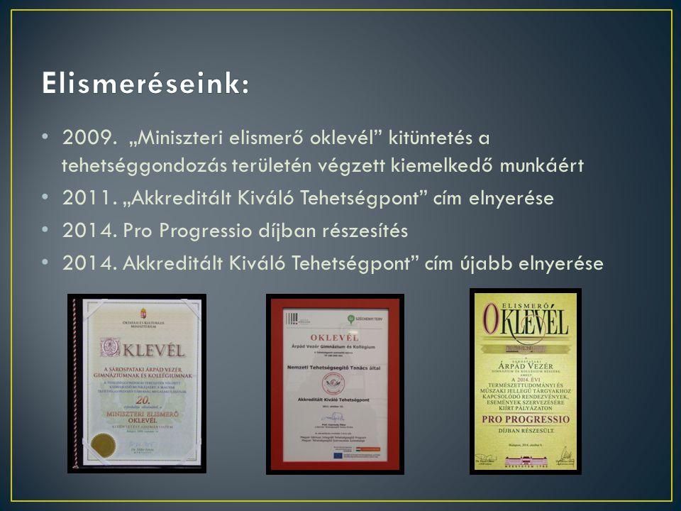 """2009. """"Miniszteri elismerő oklevél"""" kitüntetés a tehetséggondozás területén végzett kiemelkedő munkáért 2011. """"Akkreditált Kiváló Tehetségpont"""" cím el"""