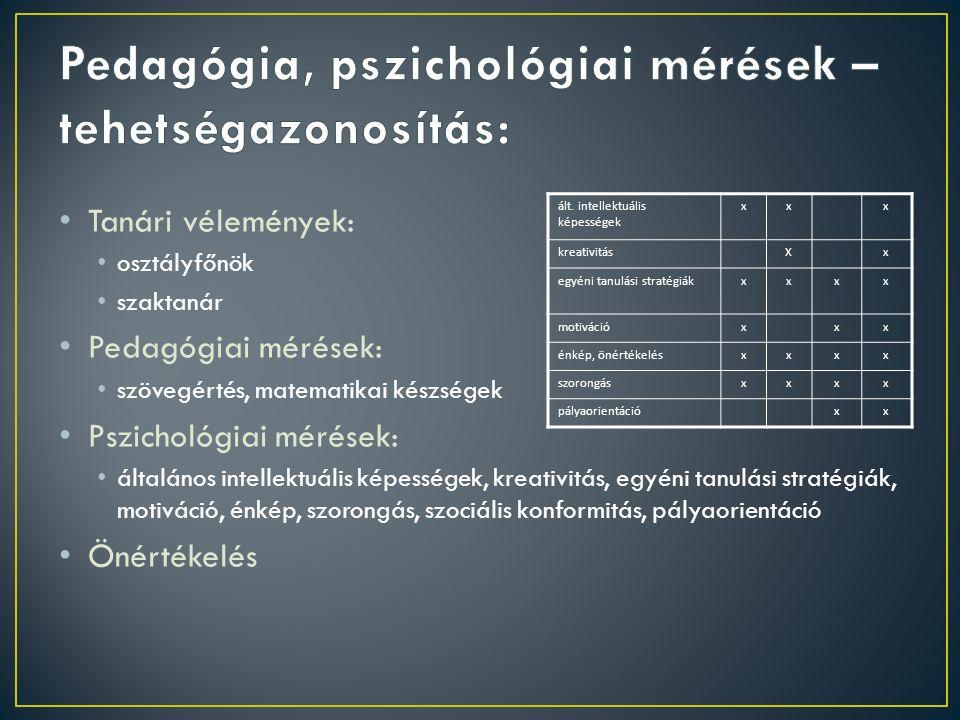 Tanári vélemények: osztályfőnök szaktanár Pedagógiai mérések: szövegértés, matematikai készségek Pszichológiai mérések: általános intellektuális képességek, kreativitás, egyéni tanulási stratégiák, motiváció, énkép, szorongás, szociális konformitás, pályaorientáció Önértékelés ált.
