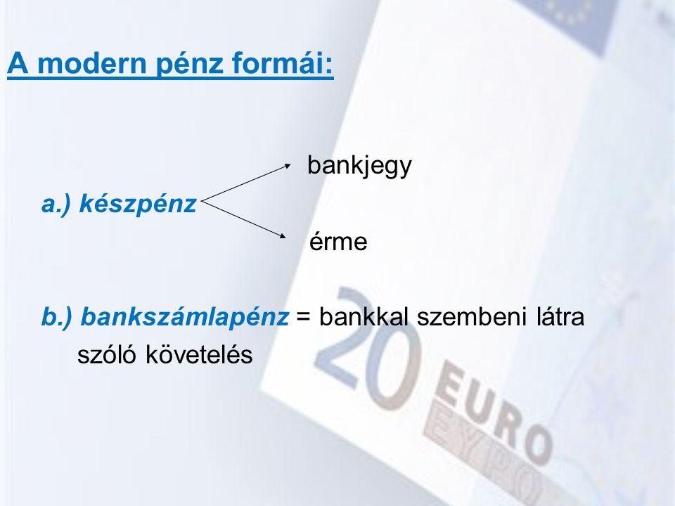 A modern pénz formái: bankjegy a.) készpénz érme b.) bankszámlapénz = bankkal szembeni látra szóló követelés