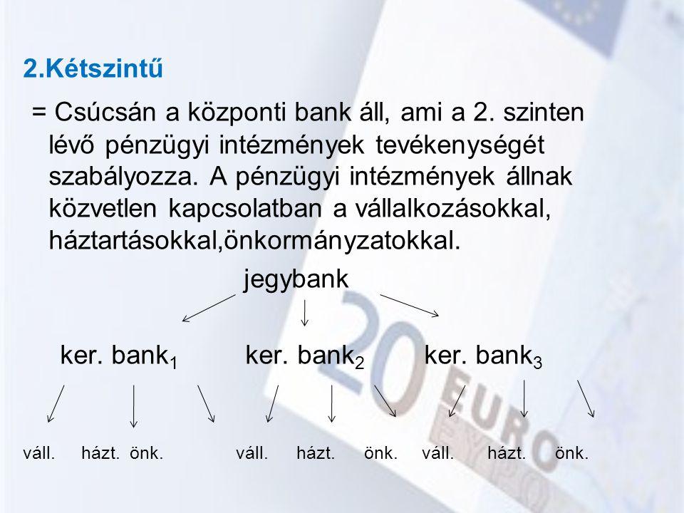 2.Kétszintű = Csúcsán a központi bank áll, ami a 2. szinten lévő pénzügyi intézmények tevékenységét szabályozza. A pénzügyi intézmények állnak közvetl