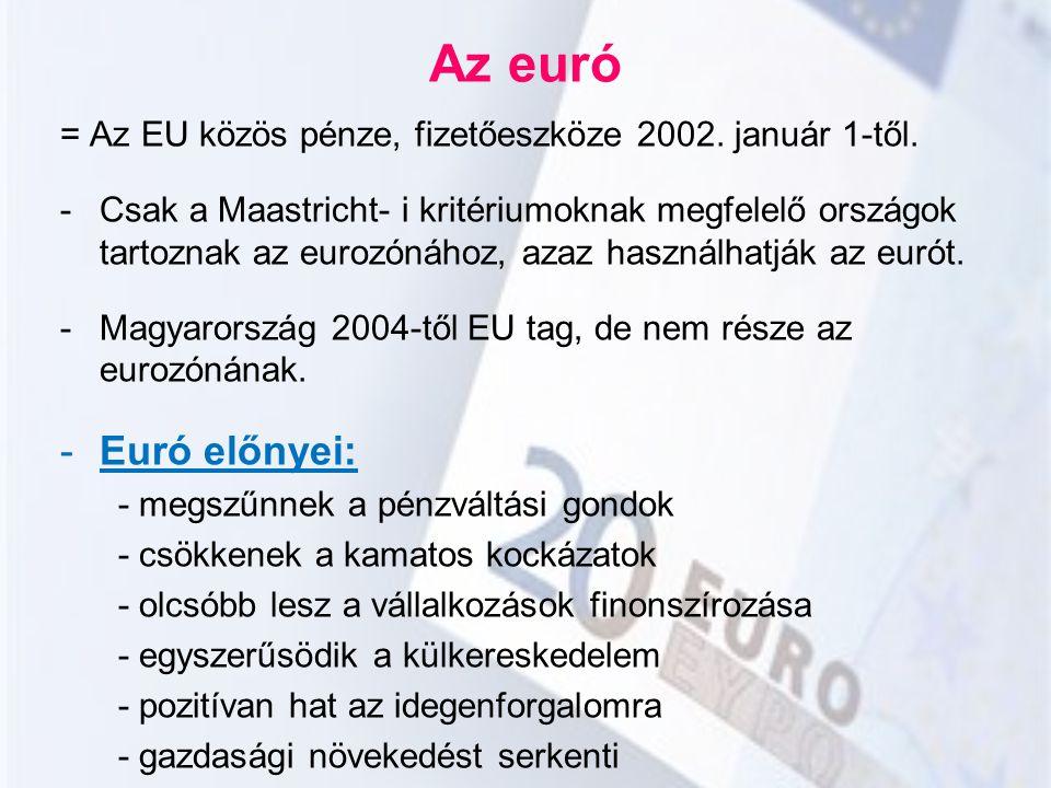 Az euró = Az EU közös pénze, fizetőeszköze 2002. január 1-től. -Csak a Maastricht- i kritériumoknak megfelelő országok tartoznak az eurozónához, azaz