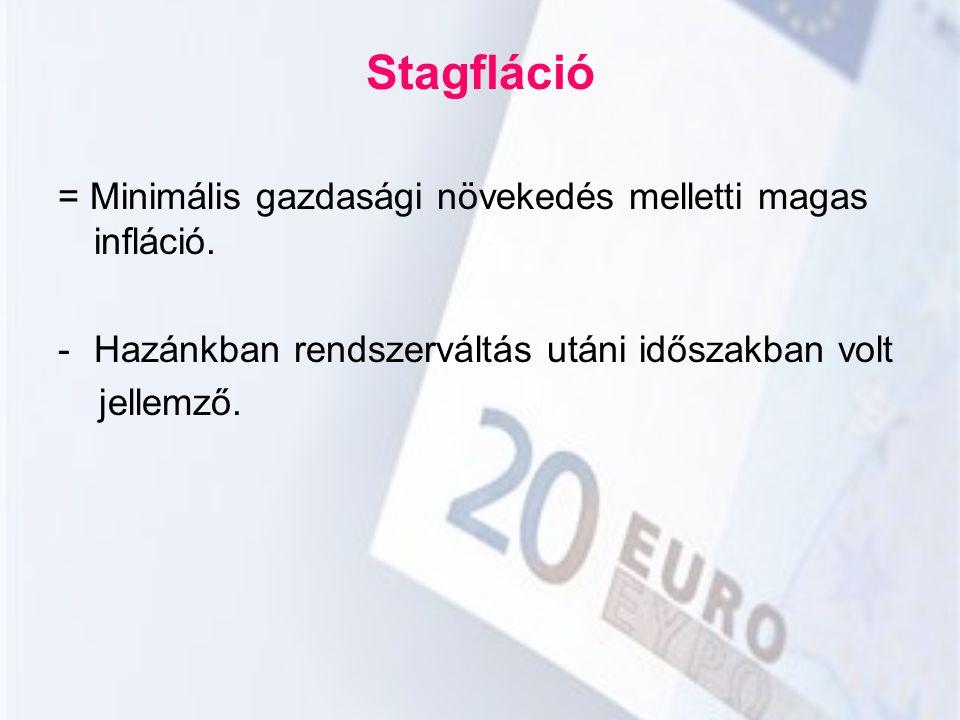 Stagfláció = Minimális gazdasági növekedés melletti magas infláció. -Hazánkban rendszerváltás utáni időszakban volt jellemző.