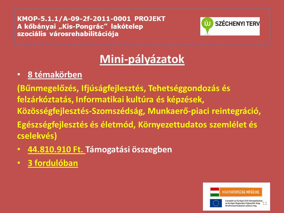 """KMOP-5.1.1/A-09-2f-2011-0001 PROJEKT A kőbányai """"Kis-Pongrác"""" lakótelep szociális városrehabilitációja Mini-pályázatok 8 témakörben (Bűnmegelőzés, Ifj"""