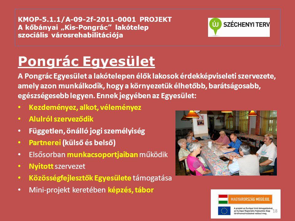 """KMOP-5.1.1/A-09-2f-2011-0001 PROJEKT A kőbányai """"Kis-Pongrác"""" lakótelep szociális városrehabilitációja Pongrác Egyesület A Pongrác Egyesület a lakótel"""