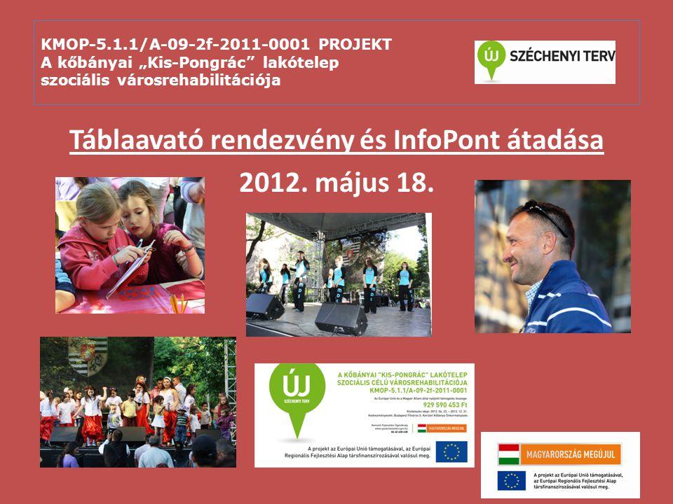 """KMOP-5.1.1/A-09-2f-2011-0001 PROJEKT A kőbányai """"Kis-Pongrác"""" lakótelep szociális városrehabilitációja Táblaavató rendezvény és InfoPont átadása 2012."""