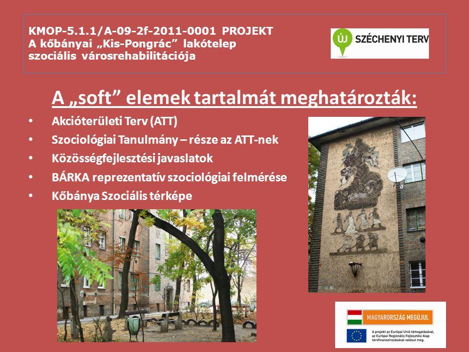 """KMOP-5.1.1/A-09-2f-2011-0001 PROJEKT A kőbányai """"Kis-Pongrác lakótelep szociális városrehabilitációja A projekt Programalapja – soft elemek: Közvetlen támogatás (49.746.400 Ft.) Közvetett támogatás (44.810.910 Ft.) Intenzív család- és szociális gondozás 10 fő közcélú foglalkoztatása 12 hónapig Mini-pályázatok"""