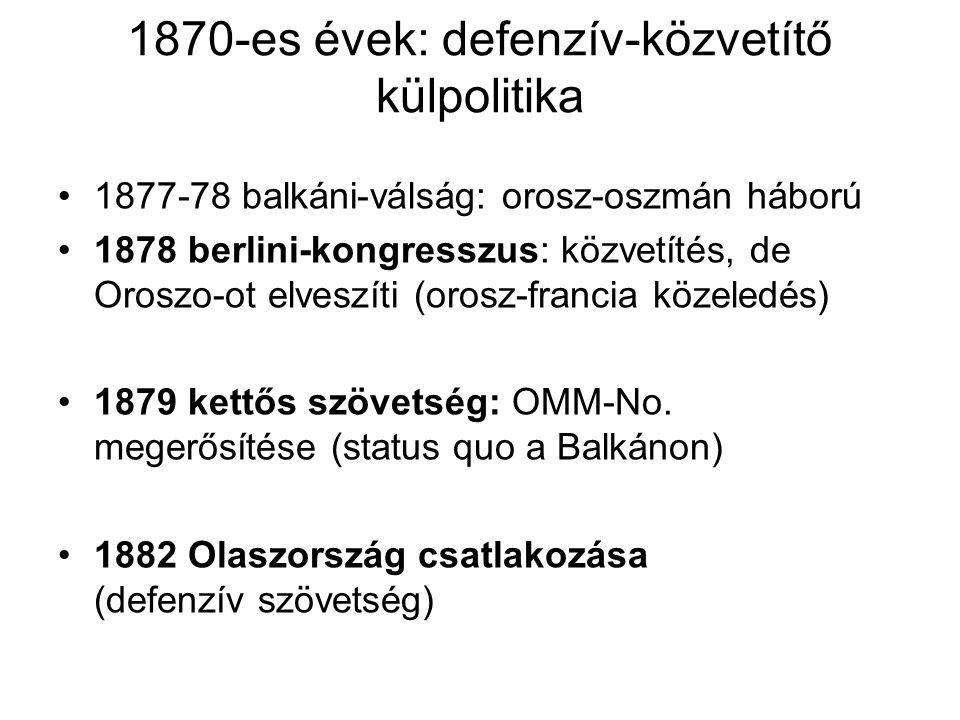 1890-as évektől: német imperializmus 1880-as évektől tengeren túli területeken magánvállalkozások formájában (koncessziós) Gyarmatosítás: nemzeti kérdés nacionalizmus új tartalma (nagyság) német-Ny-Afrika (Namíbia), német-K-Afrika (Tanzánia, Burundi, Ruanada), Togo, Kamerun Csendes-óceáni szigetek: Szamoa, Új-Guinea, Bismarck-szigetek