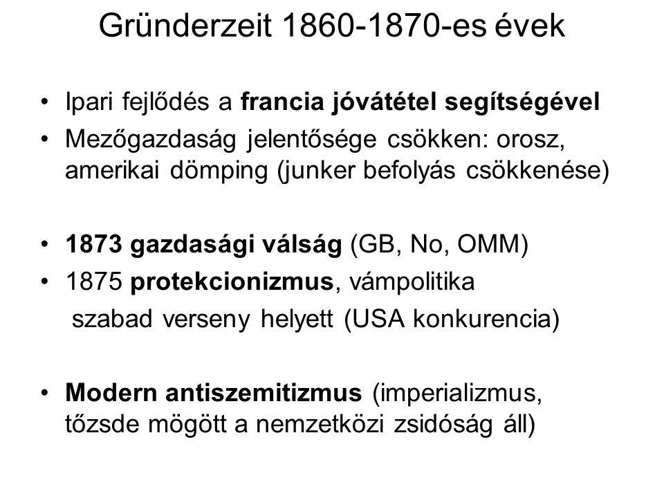 """Társadalom Demográfiai átmenet 1871: 41 millió, 1910: 65 millió fő Urbanizáció: belső vándorlás Evangélikus É, katolikus D Zsidók 1%, nagyvárosokban (Berlin) és vidéken (keleten), cionizmus elvetése, helyette asszimiláció (Haskala-zsidó felvilágosodás, Moses Mendelssohn) Antiszemitizmus: """"zsidómentes szakmák: tiszt, egyetemi tanár (csak magántanár), miniszter"""