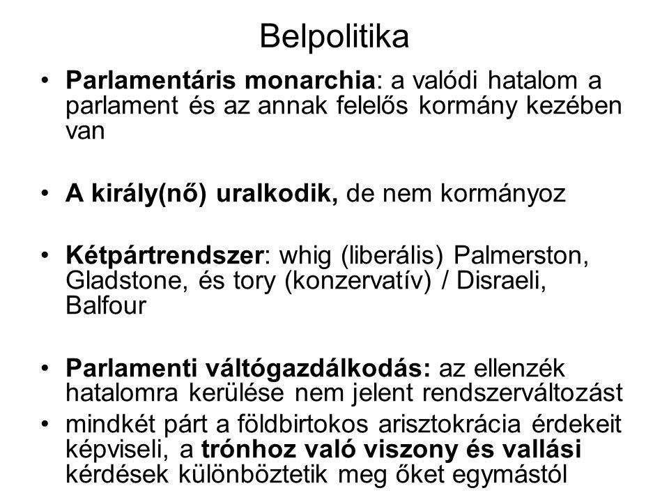 Belpolitika Parlamentáris monarchia: a valódi hatalom a parlament és az annak felelős kormány kezében van A király(nő) uralkodik, de nem kormányoz Két