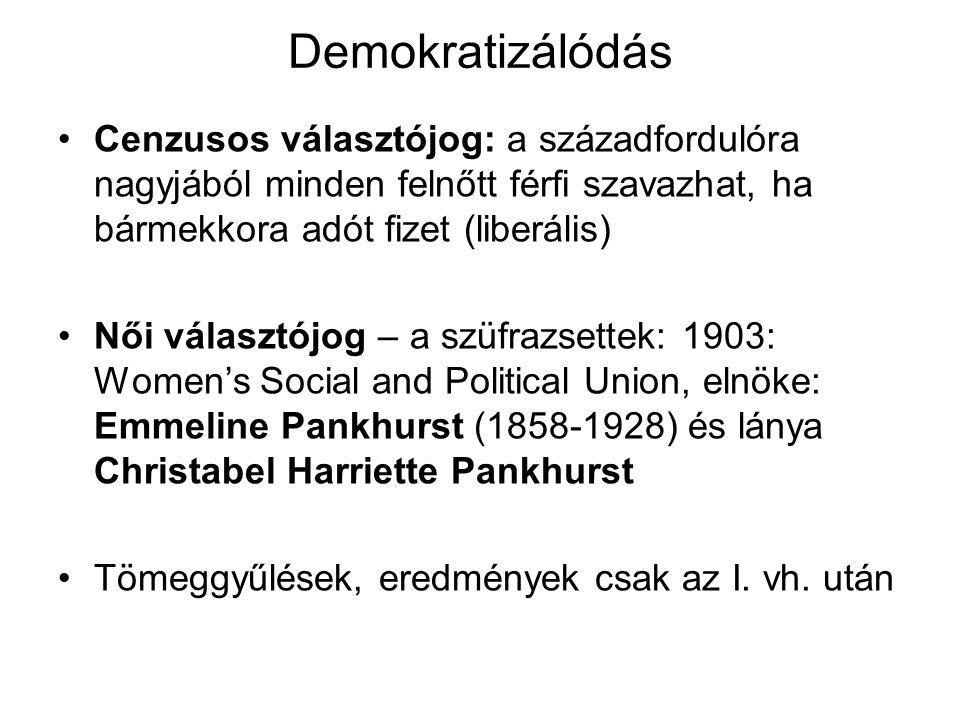 Demokratizálódás Cenzusos választójog: a századfordulóra nagyjából minden felnőtt férfi szavazhat, ha bármekkora adót fizet (liberális) Női választójo
