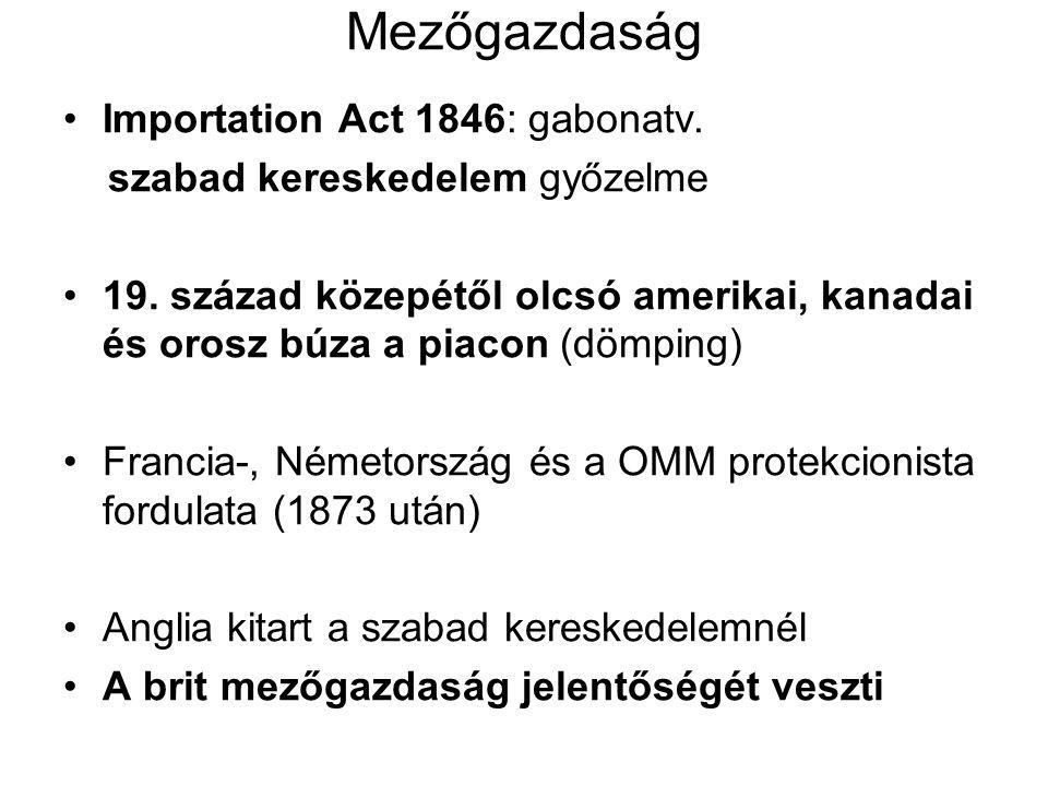 Mezőgazdaság Importation Act 1846: gabonatv. szabad kereskedelem győzelme 19. század közepétől olcsó amerikai, kanadai és orosz búza a piacon (dömping