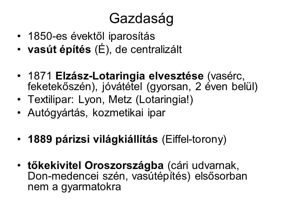 Gazdaság 1850-es évektől iparosítás vasút építés (É), de centralizált 1871 Elzász-Lotaringia elvesztése (vasérc, feketekőszén), jóvátétel (gyorsan, 2