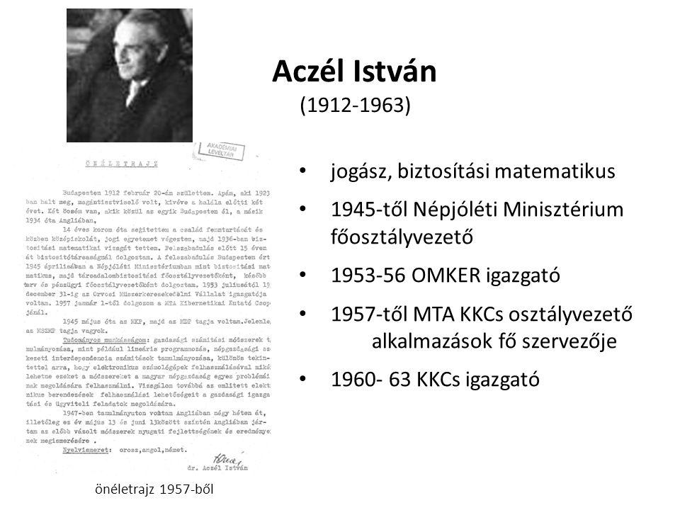 Aczél István (1912-1963) jogász, biztosítási matematikus 1945-től Népjóléti Minisztérium főosztályvezető 1953-56 OMKER igazgató 1957-től MTA KKCs osztályvezető alkalmazások fő szervezője 1960- 63 KKCs igazgató önéletrajz 1957-ből