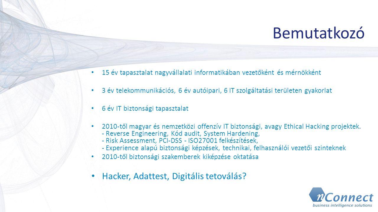 Bemutatkozó 15 év tapasztalat nagyvállalati informatikában vezetőként és mérnökként 3 év telekommunikációs, 6 év autóipari, 6 IT szolgáltatási terület